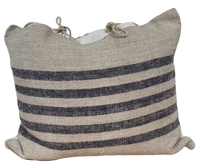 Linen Stripe Pillow with Ties