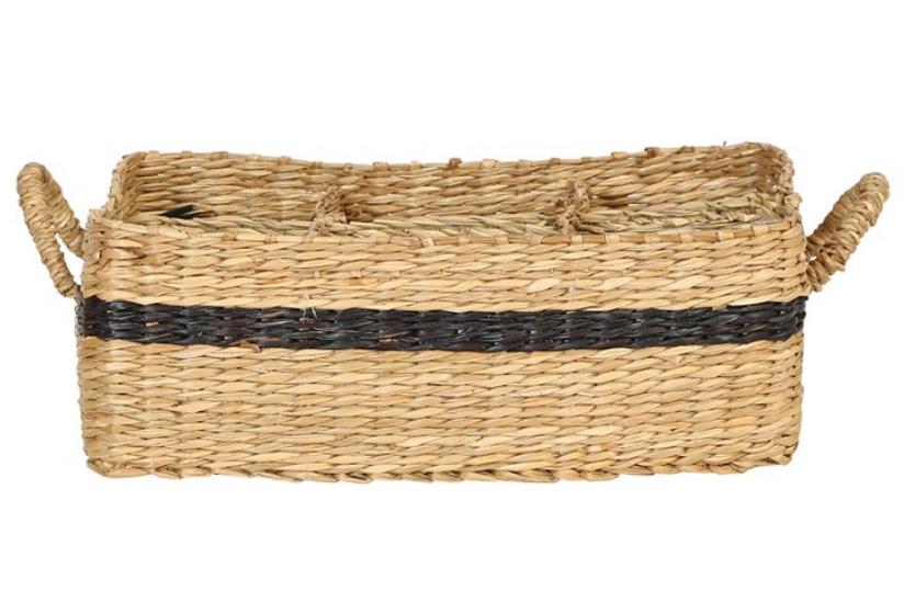 Decorative Hand-Woven Seagrass Basket w/ 6 Compartments