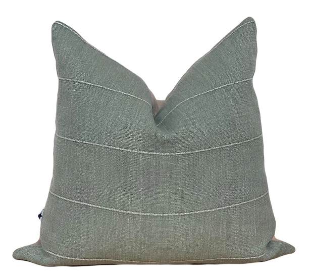 Green Linen Square Pillow