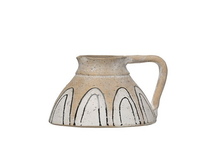 Hand-Painted Terra-cotta Pitcher