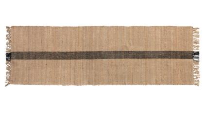 ute & Cotton Floor Runner w/ Black Woven Stripe, Natural
