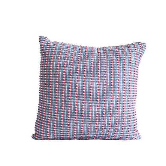 "20"" Square Cotton Woven Seersucker Pillow, Red & Blue"