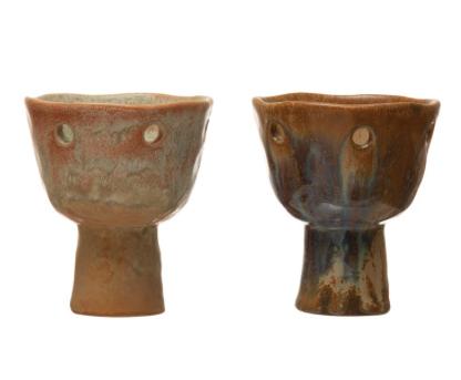 Stoneware Footed Votive Holder