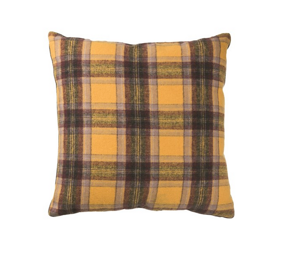 "24"" Square Wool Blend Plaid Pillow, Multi Color"