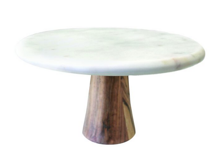 White Marble & Wood Cake Stand