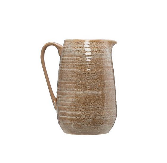 Stoneware Pitcher, Reactive Glaze, Putty Color