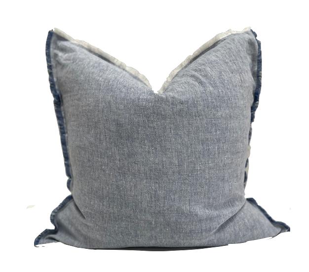 Chambray Blue Soft Linen Pillow