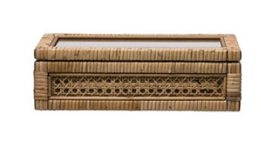 Woven Rattan Wood Display Box with Glass Lid, Small