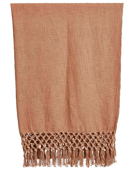 Woven Cotton Throw w/ Crochet; Fringe, Putty Color