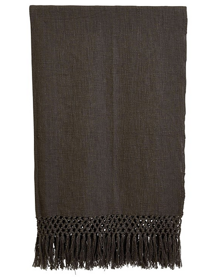 Woven Cotton Throw w/ Crochet & Fringe, Charcoal Color