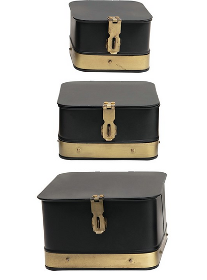 Decorative Galvanized Metal Boxes with Brass Accents, Black