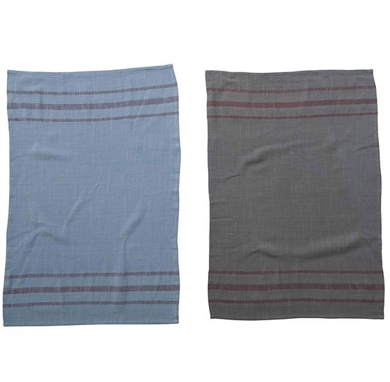 Woven Cotton Striped Tea Towel, Overdyed, 2 Colors