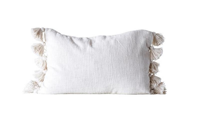 "24""L x 16""H Cotton Woven Slub Pillow w/ Tassels, Cream"