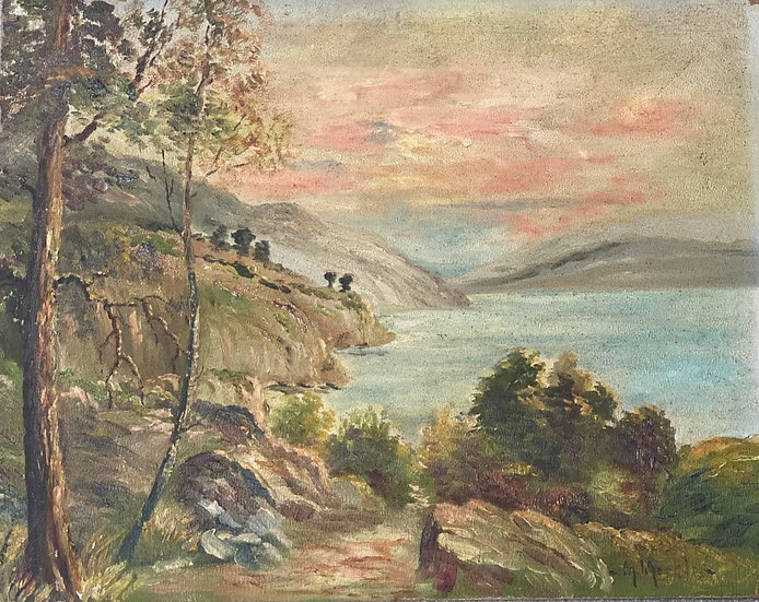 Vintage Hillside Painting
