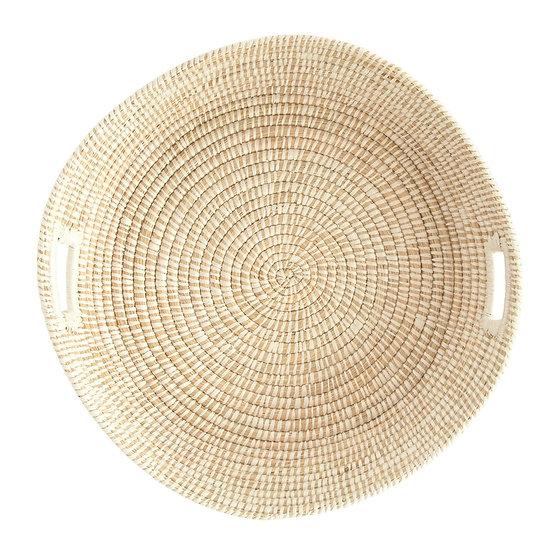 Round Hand-Woven Grass Basket w/ Handles, Natural & White