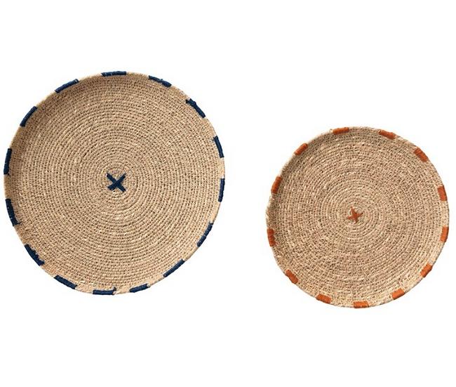 """10"""" Round & 8"""" Round Decorative Hand-Woven Natural Seagrass Trays, Navy & Orange"""