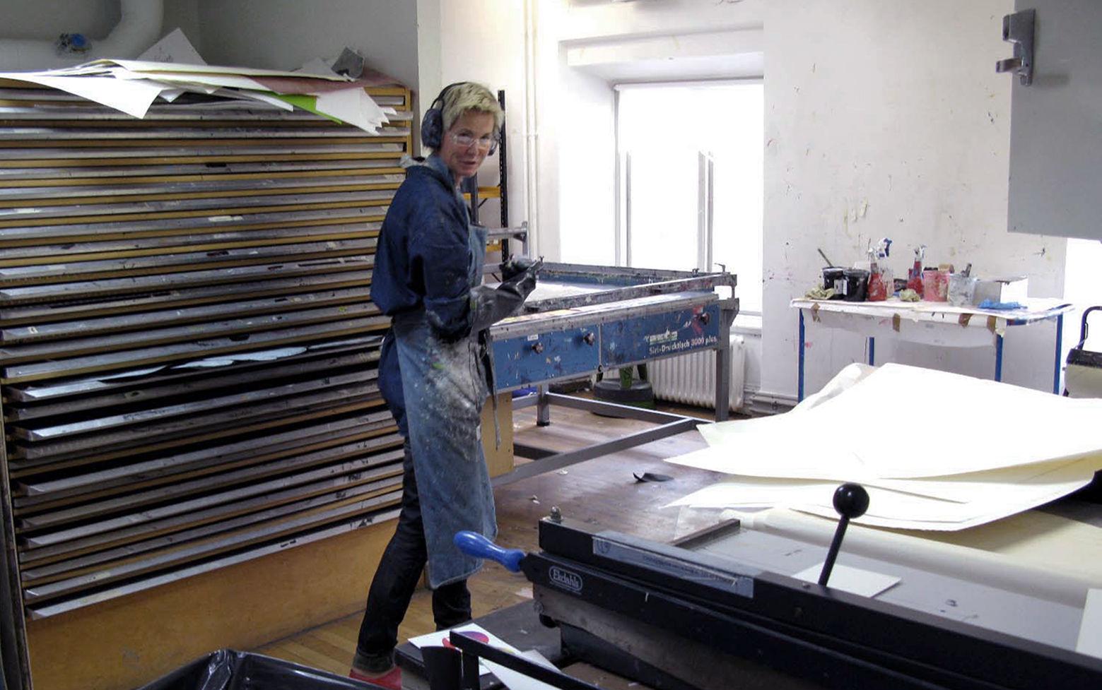 Silketrykkverksted på Kungl. Konsthögskolan i Stockholm.