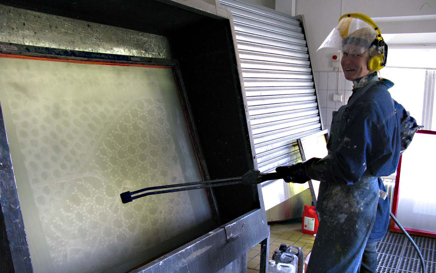 Plankton portraits are printed in the screen printing workshop at the Royal University Collage of Fine Arts in Stockholm