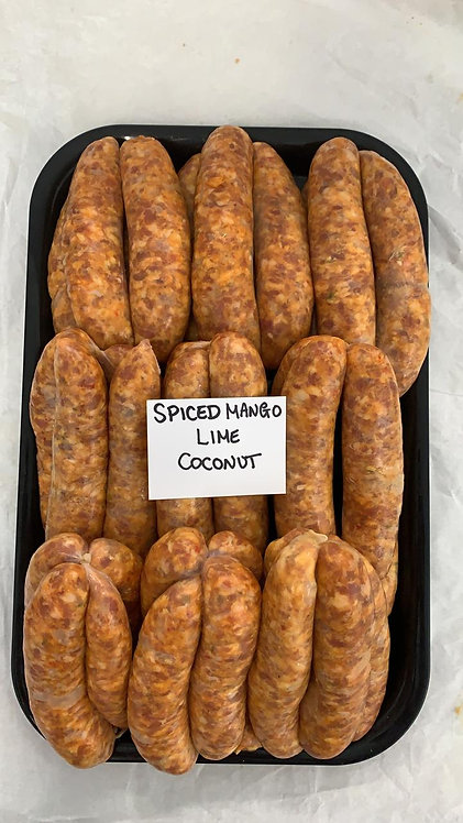 Tate's Butchers Spiced Mango, Lime and Coconut Sausages