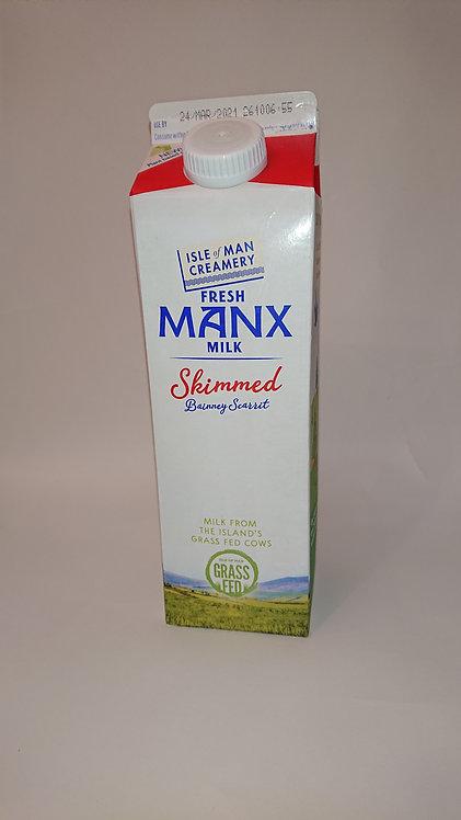 Skimmed Manx Milk 1ltr