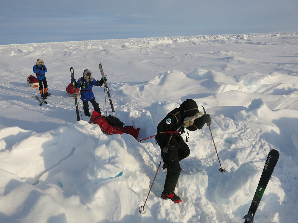 Skiers en route to the North Pole during a Last Degree Ski Expedition organized by PolarExplorers