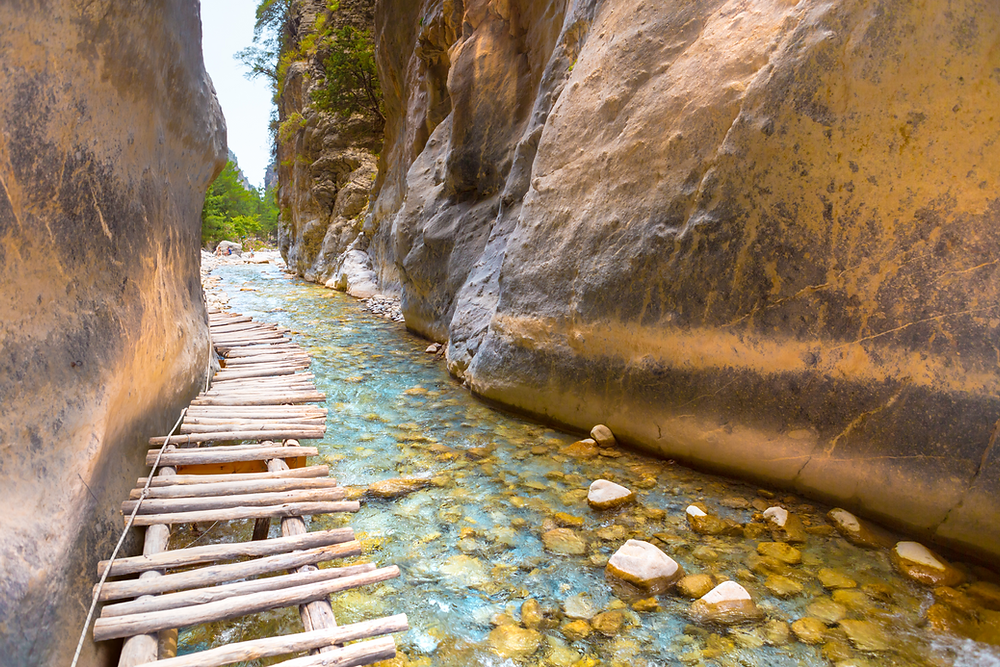 The Northwest Passage Crete Kayaking trip includes a descent of the Samaria Gorge.