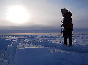 Skier at the North Pole navigating