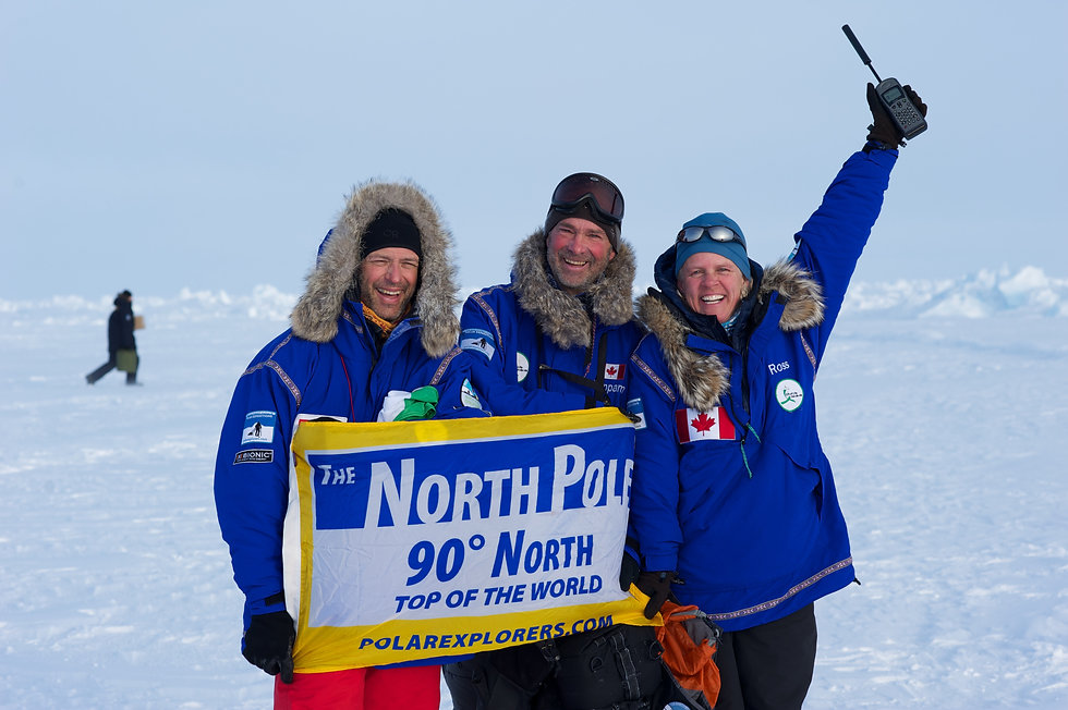 Our North Pole Last Degree Ski team at the Geographic North Pole