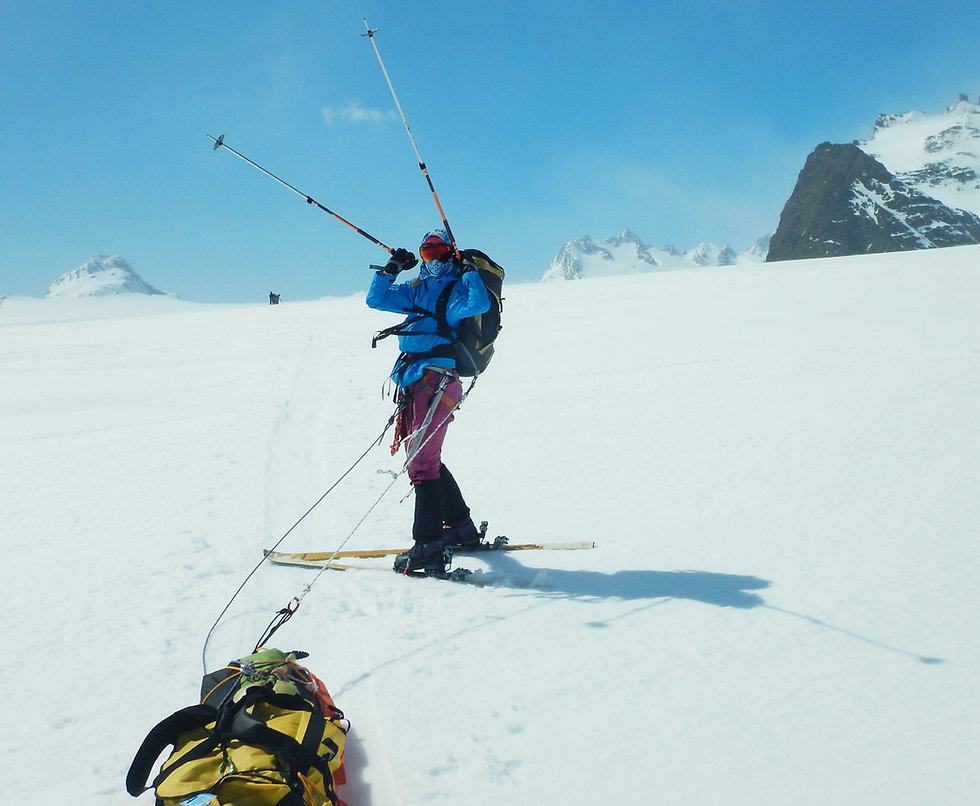 A skier traverses the Crean Glacier on South Georgia Island during our Shackleton Crossing of South Georgia Island