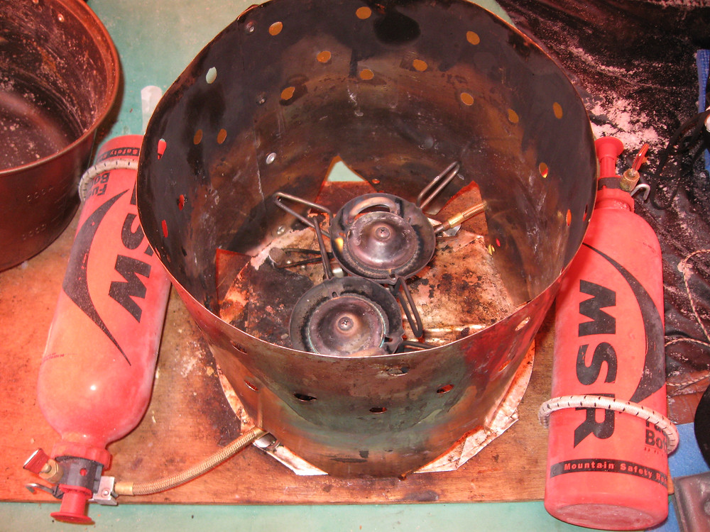 MSR stove set up during a North Pole Ski Expedition