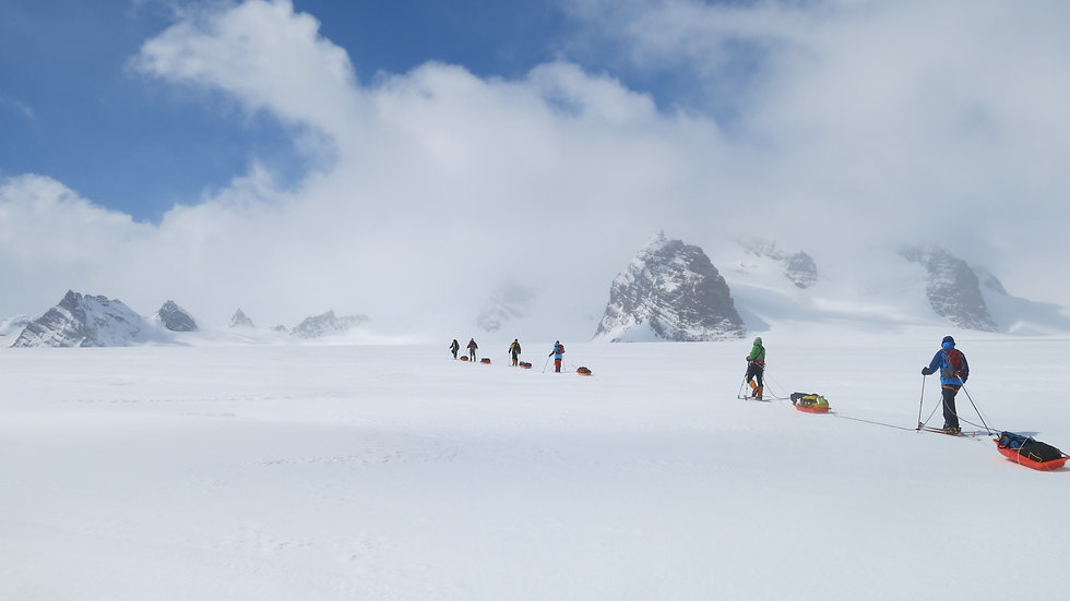 Skiers on the Shackleton Crossing of South Georgia Island