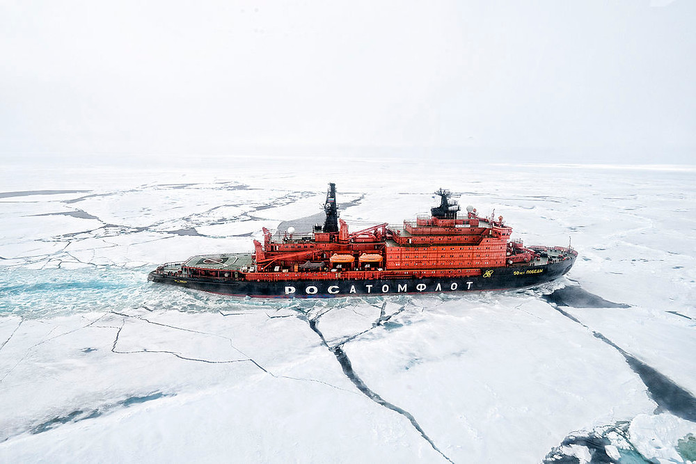 This nuclear icebreaker makes annual trips to the North Pole with tourists onboard. People looking for a North Pole trip can also fly to the North Pole, or ski or dogsled to the North Pole.