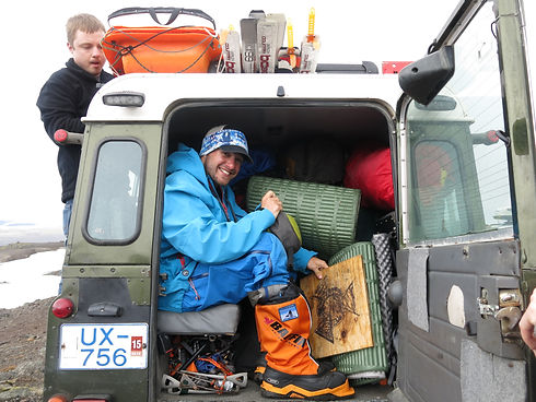 PolarExplorers guide Taylor Sweitzer with gear after completing the Vatnajokull Glacier crossing in Iceland