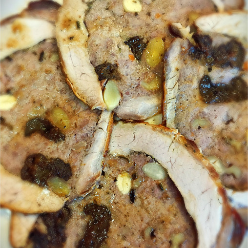 Roast pork loin stuffed with ground