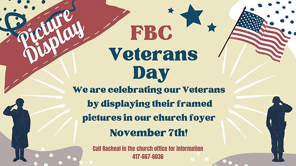 We are celebrating our Veterans by displaying their framed pictures in our church foyer on