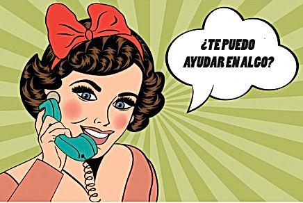"""Una viñeta de cómic con una mujer preguntando por teléfono """"¿Te puedo ayudar en algo?"""""""