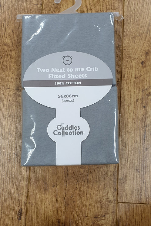 Cuddles Collection Next To Me Crib Sheets - Grey