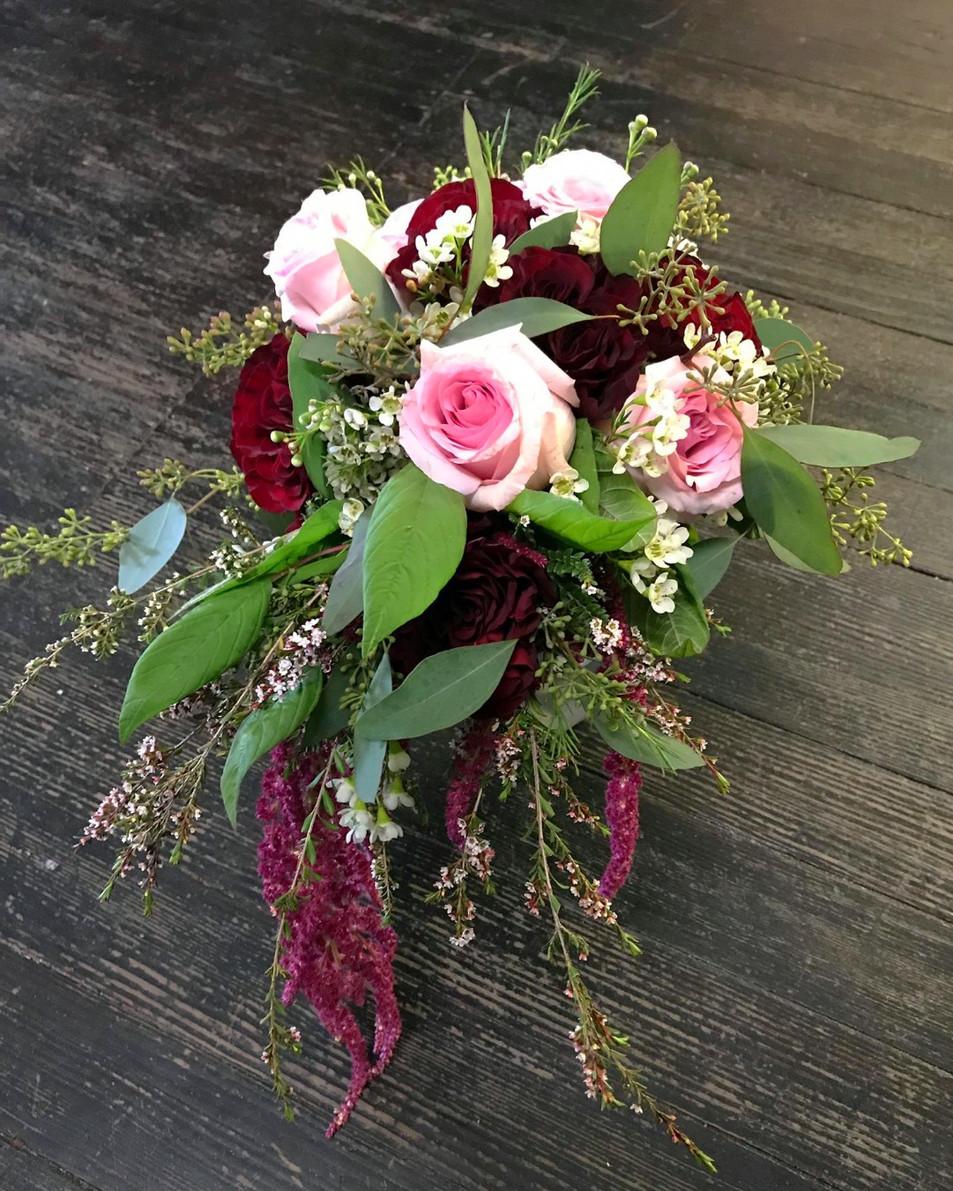 burgundy n' blush bridal bouquet