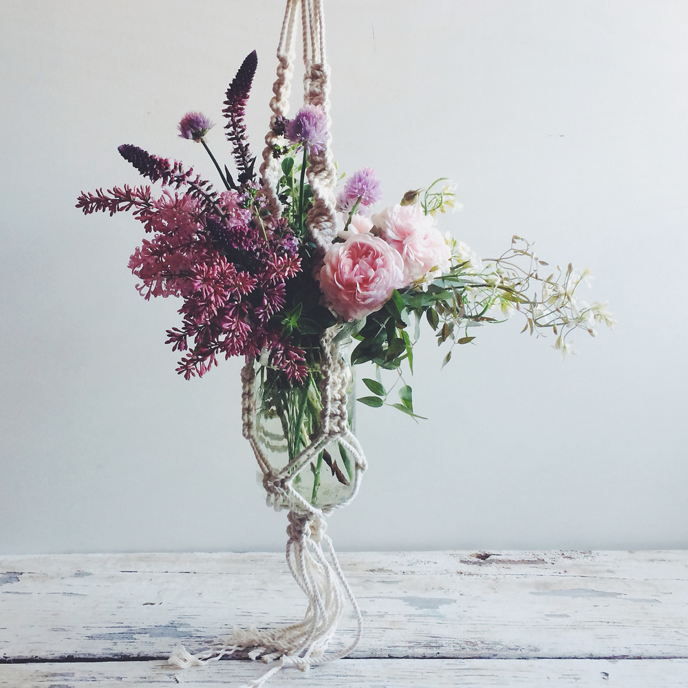 flowers and macrame by Liza Lubell and Emily Katz