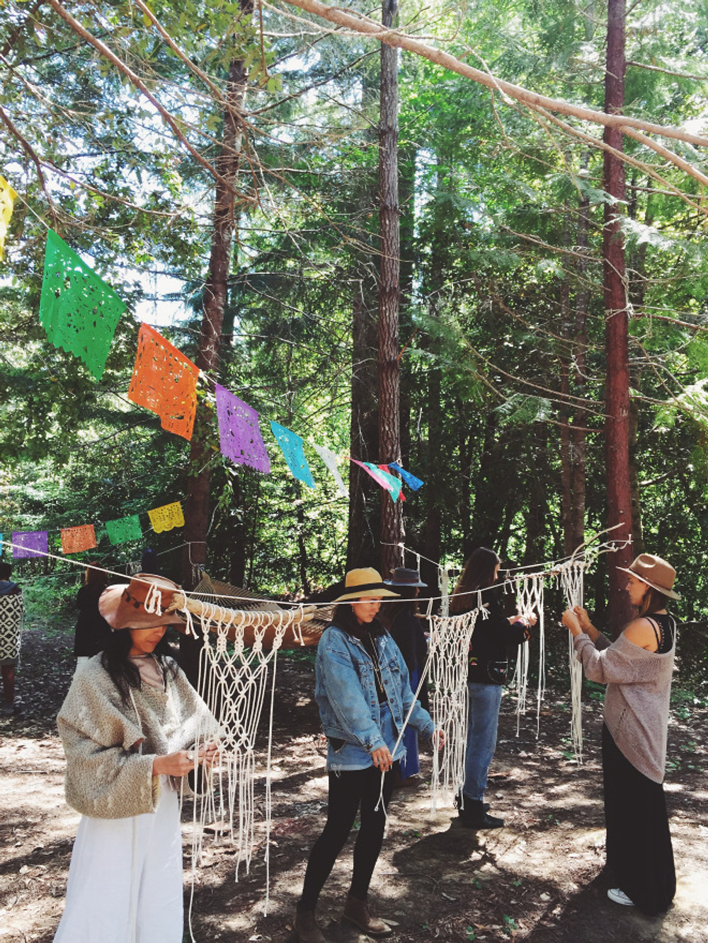 my beautiful students learning macrame in the redwoods