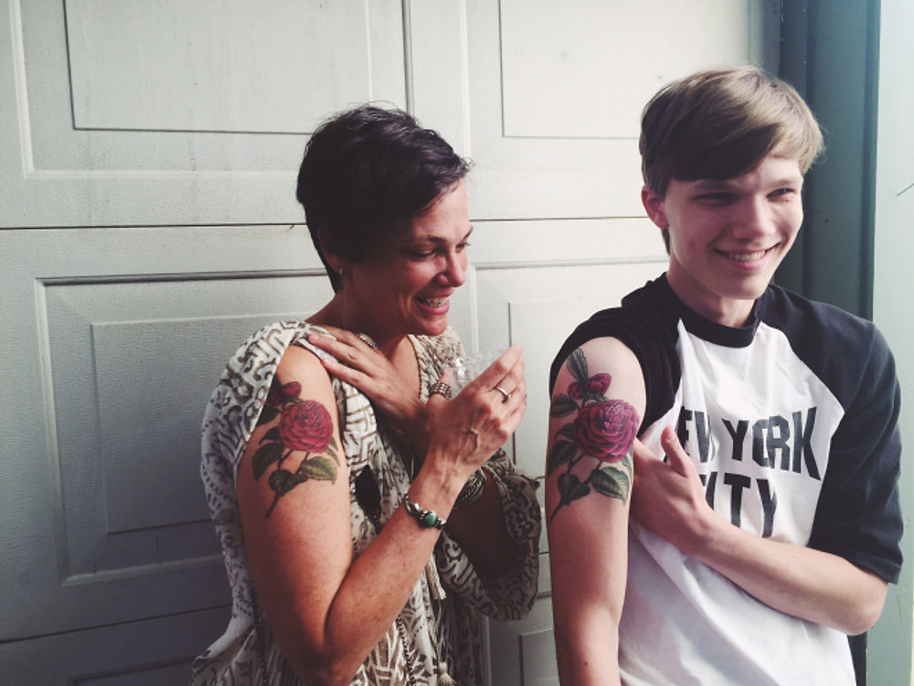 mother son matching camilla tattoos