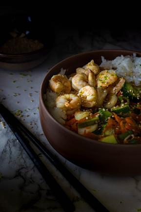 Shrimpps auf Reis