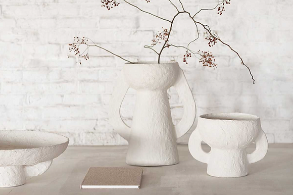 Vase Earth Marie Michielssen pour Serax papier mâché fait main designer grand modèle blanc Serax Moodbox