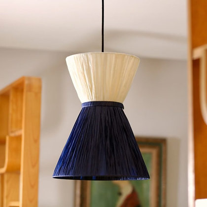 Suspension moyenne ou grande en raphia bicolore bleu nuit Mademoiselle Unum Design Moodbox
