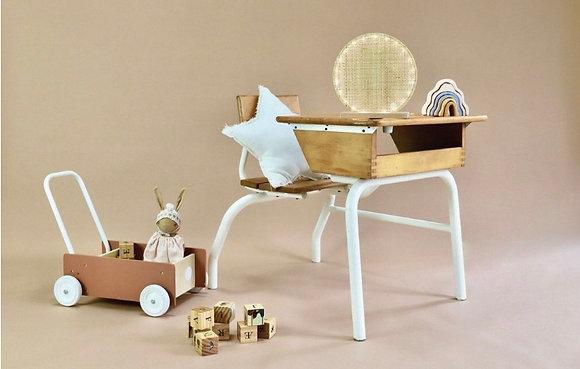 Petite lampe cercle en bois, cannage et médaillon de céramique