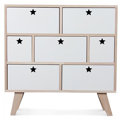Commode Étoile sept tiroirs blanche chambre enfants fille garçon Opjet Moodbox