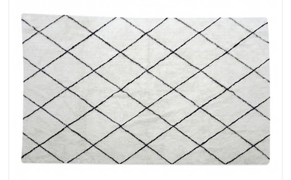 tapis berbère à losange noir et blanc en coton Opjet Moodbox