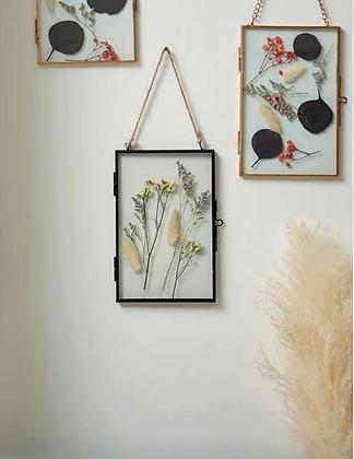 Cadre Limonium à suspendre verre métal fleurs séchées SEMA Design Moodbox