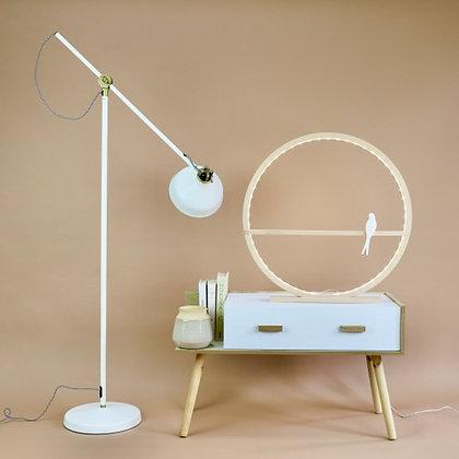 lampe cercle en bois sur pieds hêtre massif hirondelle porcelaine moodbox