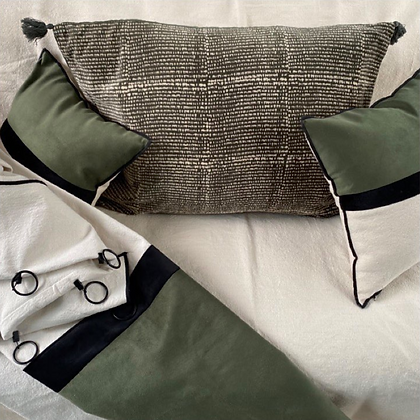 rideaux et coussins en velours vert kaki éditions vetiver sur mesure à la commande Moodbox